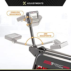 CIRCUIT FITNESS Circuit Fitness Water Rowing Machine 300 lb. Max. Capacity AMZ-167RW