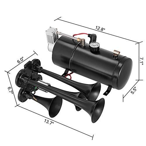 VEVOR 150DB Train Horns kit 4 Trumpet Super Loud with 120 PSI 12V Air Compressor Air Horn Compressor Tank For Any Vehicle Trucks Car Jeep Or SUV (Black)