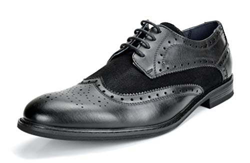 Bruno Marc Men's Prince-09 Black Classic Modern Oxford Wingtip Lace Dress Shoes – 11 M US