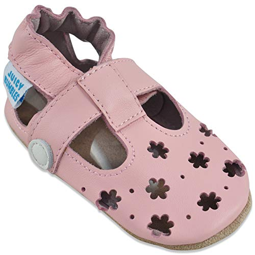 Sandales Fille - Chaussure Bebe Fille - Chausson Bebe Cuir Souple - Chaussures Enfants Filles - Sandale Petites Fleurs Roses 12-18 Mois