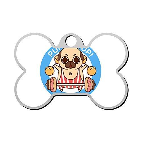 JeremyHar75 Hundemarke, lustiges Pump-It Up-Mops, personalisierbar, mit Gravur, Haustier-ID-Tag für Hunde und Katzen, Metall, Geschenkidee