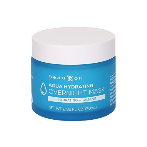 BeauKON Aqua Hydrating Overnight Mask, Hyaluronic Acid, Hydrating and Calming Sleeping Mask, Cooling Gel for All Skin Types (2.36 Oz)
