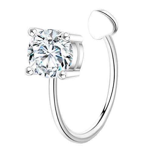 Ditz Damen Ohrklemme Fake Piercing Ring 925 Silber mit Zirkonia Strass Stein Ear Cuff Ohr Hoop Helix Nase Lippe Klemmring Ohrring Weiß 4mm