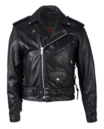 Hot Leathers Classic Motorcycle Jacket with Zip Out Lining (Black, Size 64)