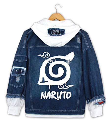 WANHONGYUE Anime Naruto Hoodie Denim Jacket Cosplay Kostüm Jeansjacke Outwear Sweatshirt Pulli Mäntel Dunkelblau/1 S