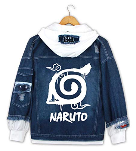 Cosstars Anime Naruto Hoodie Denim Jacket Cosplay Kostüm Jeansjacke Outwear Sweatshirt Pulli Mäntel Dunkelblau/1 S