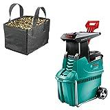Bosch Biotrituratore AXT 25 TC, 2500 W, Capacità di triturazione 230 kg/h, Nero/Verde + Sacco di raccolta, compatibile con tutti i modelli di biotrituratori