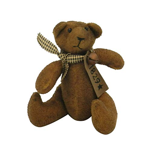 CVHOMEDECO. Primitive Grungy Stuffed Small Bear Ornament with Rusty Bell Collar. 8 X 6 Inch