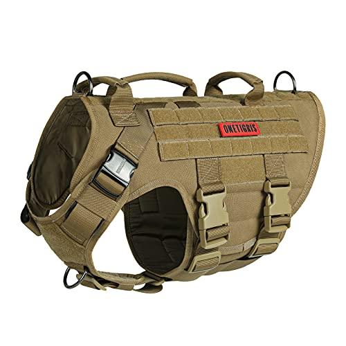 OneTigris Large Tactical Dog Harness, No Pulling Adjustable Dog Vest...