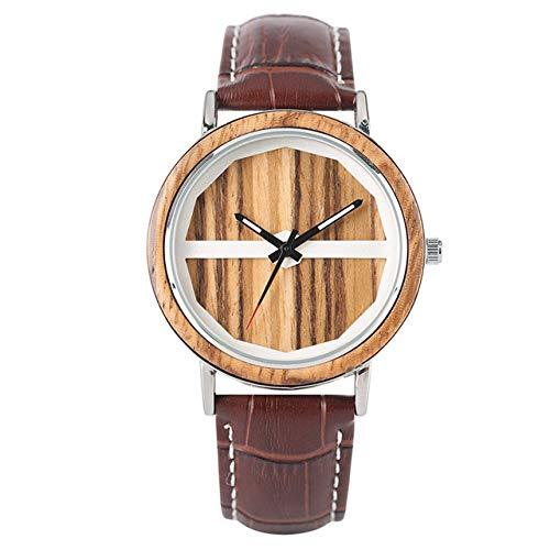 RWJFH Reloj de Madera Reloj de Pulsera de Cuarzo para Hombre, aleación con Caja de Madera de bambú, Esfera única, Correa de Cuero, Esfera de Moda, Relojes Masculinos, marrón