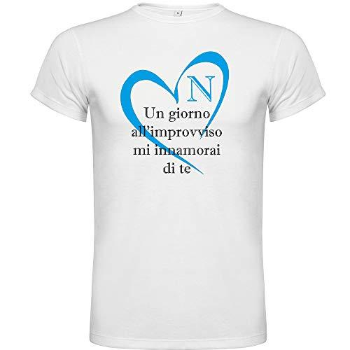 b&c T-Shirt Maglia Calcio Napoli Coro Un Giorno all'improvviso Cuore, Stampata Direttamente su Tessuto (XL)