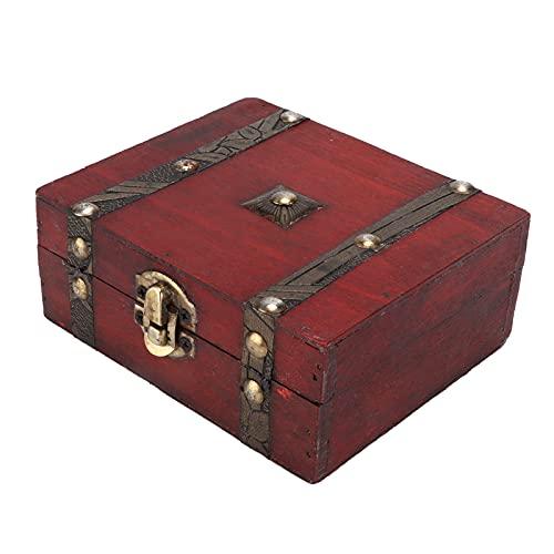 Caja Decorativa Vintage, baúl de Almacenamiento de Madera Caja de Almacenamiento de Madera Caja de Cofre del Tesoro de Madera Decorativa Duradera para Oficina para decoración de