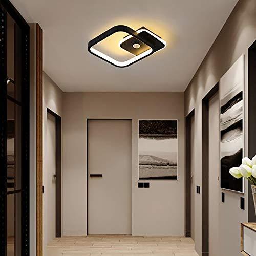Luckly Lámpara De Techo LED Moderna Sótanos Plafon De Techo 14W Metal Rectángulo Luz Interior con Sensor De Movimiento para Escalera Loft Garaje Balcón 840lm, 5500k, 25 * 5CM,Negro