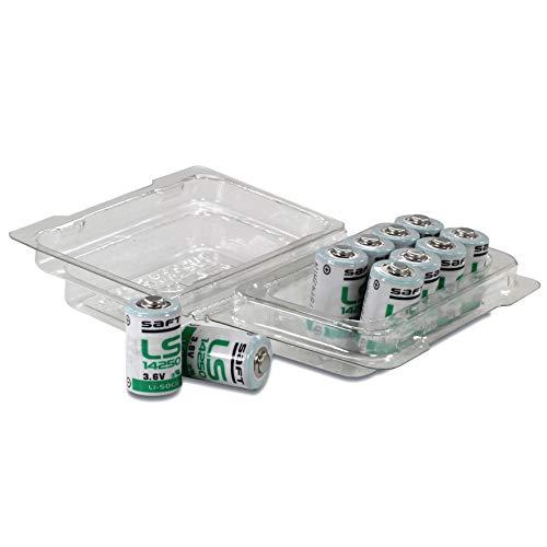 Saft LS14250 1/2 AA Lithium-Thionylchlorid Batterie 3.6V, in wiederverschließbarer 10er-Box von Weiss - More Power +