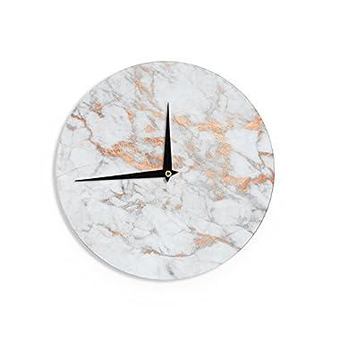 KESS InHouse KESS Original  Rose Gold Flake  White Pink Wall Clock, 12