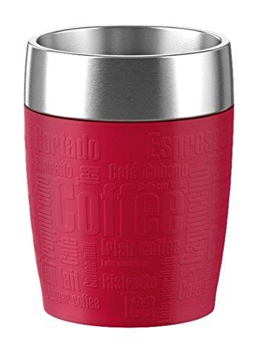 Emsa 515681 Isolier-Trinkbecher, Mobil genießen, 200 ml, Dreh- Trinkverschluss, Rot, Travel Cup