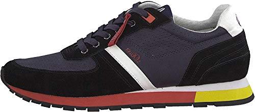 s.Oliver Herren Low-Top Sneaker 13614-22,Männer Halbschuh,Sportschuh,Schnürschuh,atmungsaktiv,Black/Blue,44 EU