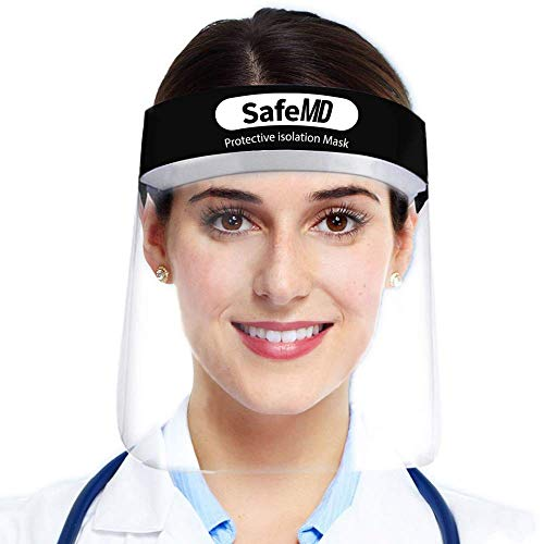 10 Pack Bio Mask Face Shield Clear Face Mask With Eye Shield| Plastic Anti Fog Mask Protection By SafeMD
