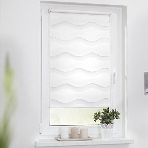 Lichtblick Duo-Rollo Welle Klemmfix, 90 cm x 150 cm (B x L) in Weiß, ohne Bohren, Doppelrollo mit Jalousie-Funktion, dekorativer Sonnen- & Sichtschutz, für Fenster & Türen - 2