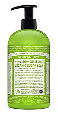 Dr. Bronner's Organic Lemongrass Lime Sugar Soap. 4-in-1 Organic Pump Soap for Home and Body, 24 Ounce