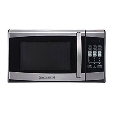 BLACK+DECKER EM925AZE-P 0.9 Cubic Foot 900 Watt Stainless Steel Microwave with Turntable