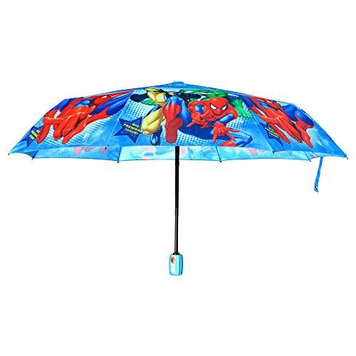 Finex Regenschirm mit Cartoon-Charakteren, vollständig automatisches Öffnen/Schließen oder manuell, dreifach faltbar, kompakt Blau (Spiderman)