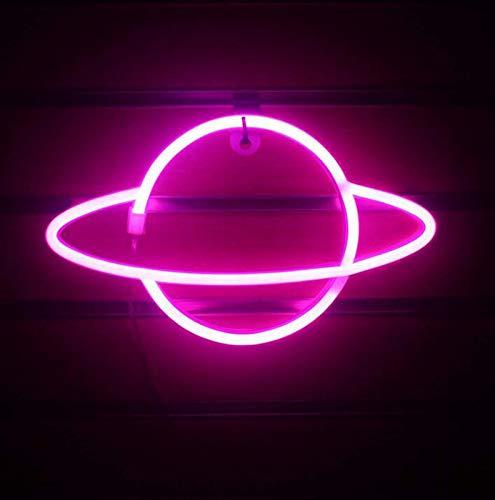 DKZ LED-Planet Neon, Kinder Nachtlicht USB/Batterie Neonlichter Für Raumwand Kinderschlafzimmer Geburtstag Party Bar Strand Hochzeitsdekoration, 30 * 18 cm,Rosa