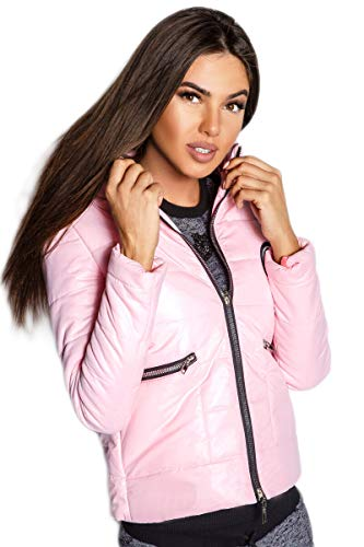 Selente #Fashionista Damen Jacke als praktische Übergangsjacke/leichte Winterjacke/Kurze Steppjacke in modischem Design ideal für Frühling und Herbst, Modell 1 Rosa, Größe S