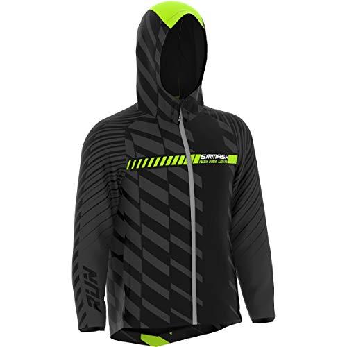 SMMASH Run - Chaqueta de running profesional con capucha para hombre y mujer, cortavientos, impermeable, regula el calor, material de secado rápido, fabricada en la UE multicolor S