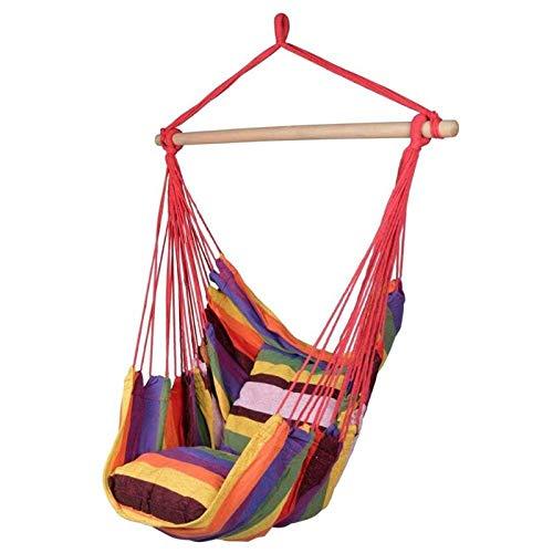 Hegpd Stoel, 130 x 100 cm, tuinschommel, hangmat voor outdoor, hangen, gestreepte touw, stoel, schommelstoel met 2 kussens voor binnen en buiten, tuin