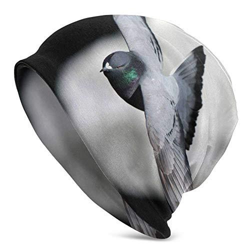 BGDFN Impresionante Gorro de Punto de Palomas Gorros cálidos Gorros elásticos Suaves con puños de Calavera Gorro Diario para Unisex Negro