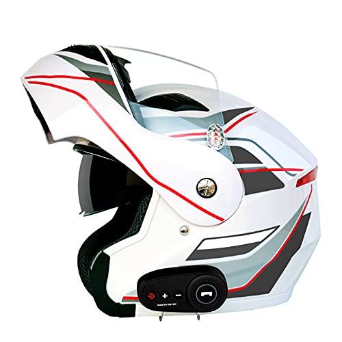 Casco De Motocicleta Modular Bluetooth Full Face Flip Up Auriculares Delanteros Tipo De Flip-Tipo Dual Sun Sun Helmet Casco Integral DOT ECE Aprobado Para Hombres Y Mujeres,I,XXL