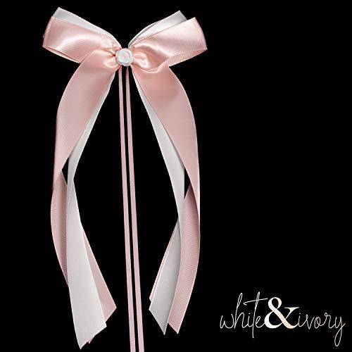 white & ivory 25 Autoschleifen Hochzeit Antennenschleifen | rosa & weiß | doppelt handgebunden mit Rose | hochwertiges Satin | Autoschmuck | Deko Schleife