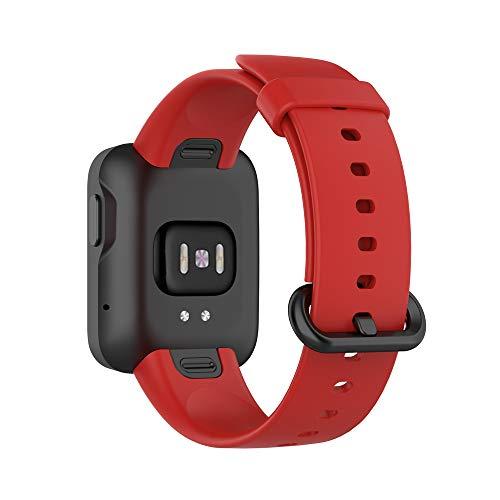 KINOEHOO Correas para relojes Compatible con Mi Watch Lite,with Redmi watch Pulseras de repuesto.Correas para relojesde siliCompatible cona.(rojo)