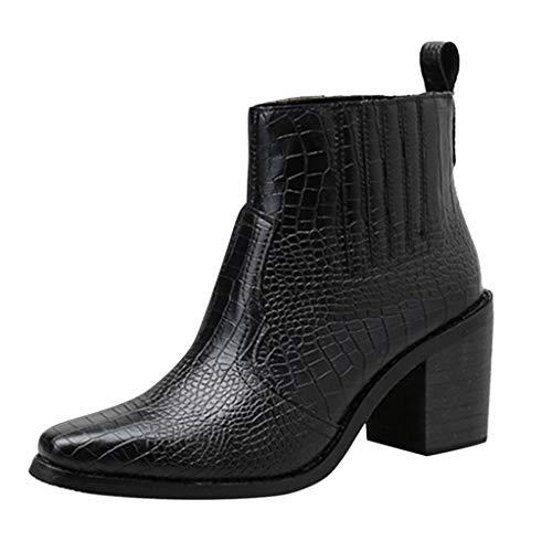 MOTOCO Frauen Stiefeletten Büroarbeit Schuhe Damen Chelsea Stiefel Schnalle High Heel Stiefel für Damen(35 EU,Schwarz)