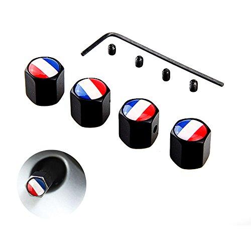 DSYCAR 4Pcs/Set Francia Bandera Capuchones de Válvula, Tapas Antipolvo, Tapa de Válvula de Aire de Tapa de neumático para Coche/Motocicleta