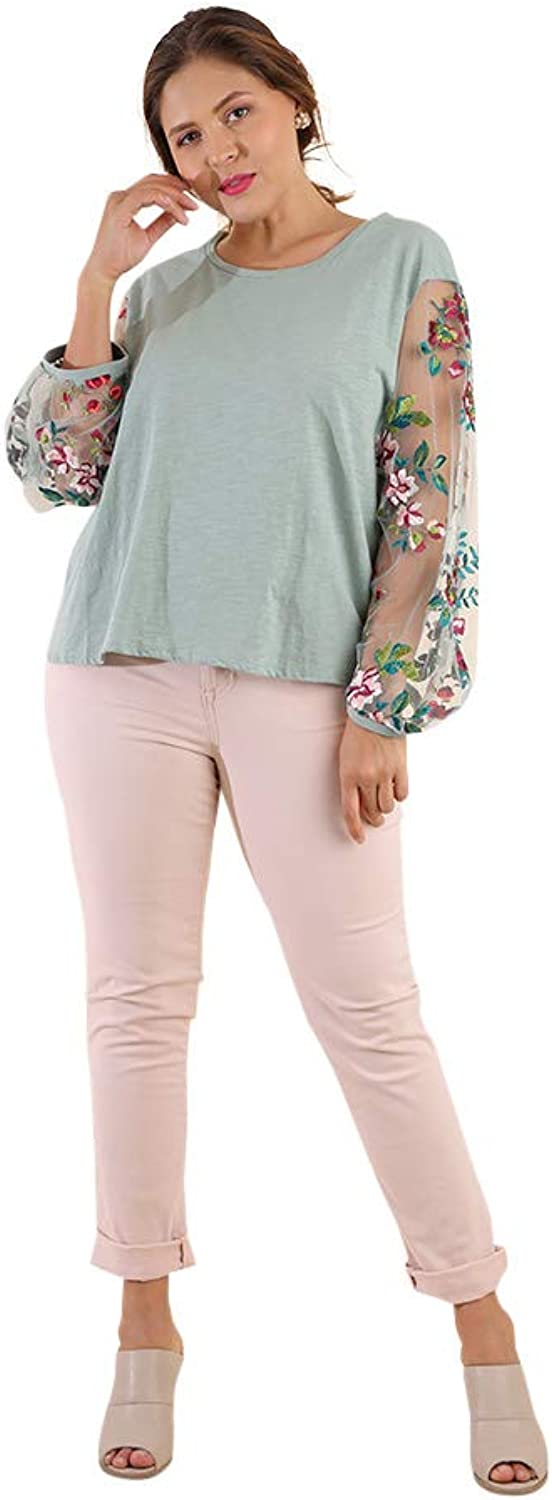 Umgee Women's Floral Embroidered Sheer Puff Sleeve Top Plus Size