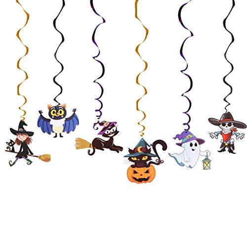 Yagaiu Halloween-Aufhängung, verwirbelnde Dekoration, Wand, Party, Ornament, Spirale, 6 Farben