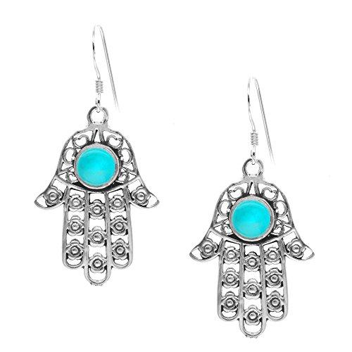 Silverly Pendientes Mujeres en Plata de Ley .925 Simulado Piedra Turquesa Colgantes Mano de Hamsa
