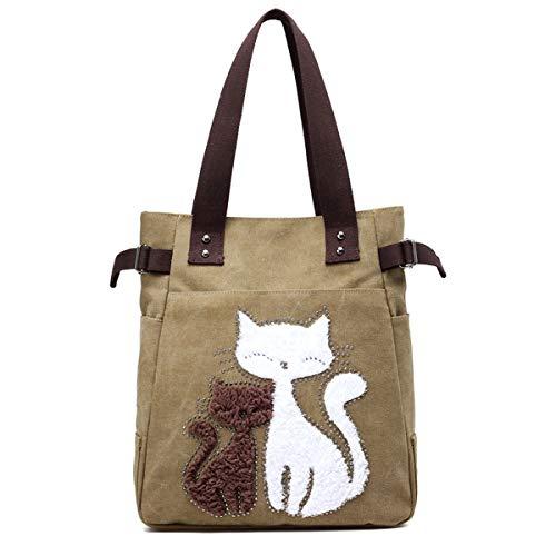 JOSEKO Bolso de lona para mujer, bolso de mano, vintage, bolso de hombro, gran capacidad, con patrón de gato, Khaki (Verde) - JOSEKOfrPMo160