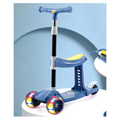 Scooter Tres en uno Pueden Sentarse Scooters para niños Scooter para niños - Deluxe Aluminio 3 Wheel Glider w/Kick N Go, Lean 2 Gire Ruedas, Paso 4 Freno Patinetes (Color : Blue)