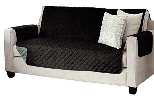 Brandsseller Sofaschoner zweiseitiger Sofaüberwurf Polsterschutz Sofabezug - gesteppt mit Armlehnen und DREI Taschen - Größe: 3-Sitzer ca. 191 x 279 cm - Farbe: Schwarz/Anthrazit