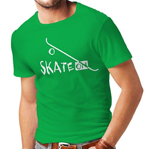 lepni.me Camisetas Hombre Skate ON ! Motivational Clothing - Skateboard/Skate/Longboard, Gifts For The Skateboarders (Small Verde Blanco)