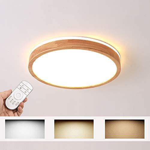 LED Deckenleuchte, Top 360° Glühen Holz Deckenlampe, dimmbar mit Fernbedienung 54W, Φ60cm Runde Holz Lampe für Wohnzimmer, Schlafzimmer, Esszimmer, Büro, Kinderzimmer Leuchte Decke Licht Holzlampe