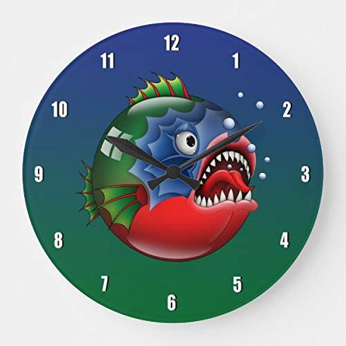 Mannerless Piranha – Emoticon. Große Uhr, batteriebetrieben, nicht tickend, leise Kunst Wanduhr Schreibtischuhr Deko
