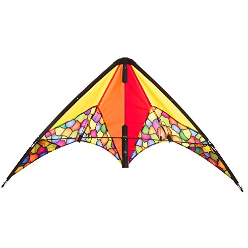 HQ Windspiration Invento 112325 - Calypso II Dazzling Colors Zweileiner Lenkdrachen, Ab 8 Jahren, 59 x 110 cm Ripstop-Polyester 2-5 Beaufort