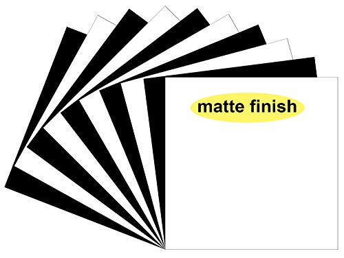 """Matte Oracal 651 Vinyl Sheets, 10 Flat 12""""x12"""" Black & White (Matte Finish) Permanent Adhesive Vinyl Decal Sheets, for Indoor/Outdoor Marking, Lettering, Decorating,Window Graphics,Car Decals,Stickers"""
