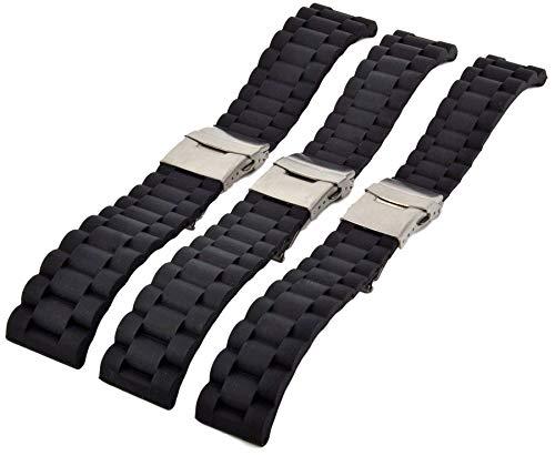 Silikon Uhrenarmband Taucher Armband Schwarz mit Faltschließe 20-24mm Wellen Uhrband 22mm