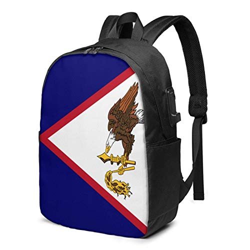 Lawenp American Samoa Flag USA Laptop Backpack with USB Charging Port, Business Bag, Bookbag | Fits Most 17 Inch Laptops and Tablets