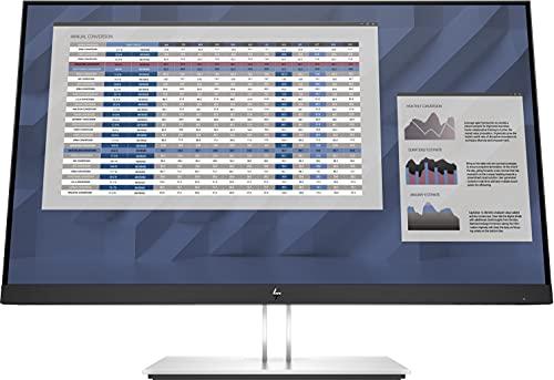 """HP - PC E27 G4 Monitor Business, Schermo IPS FHD 27"""", Tempo Risposta 5ms Overdrive, Risoluzione 1920 x 1080, Antiriflesso, Inclinazione/Altezza/Pivot Regolabili, DiplayPort, HDMI, VGA, USB, Argento"""